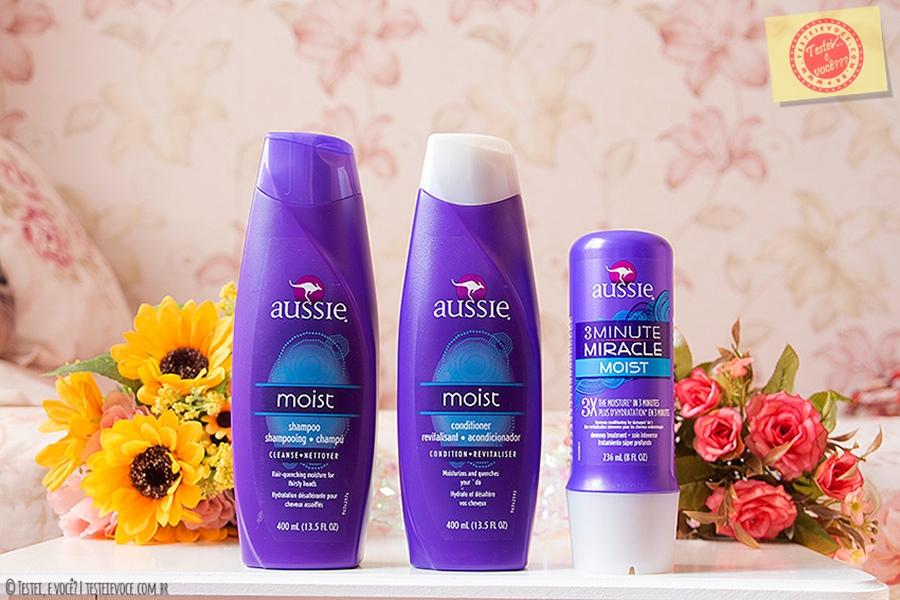 Shampoo, Condicionador e 3 Minute Miracle Moist - Aussie